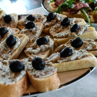 Black Olive Pesto Bruschetta