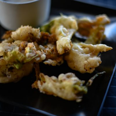 Fried Squash Blossoms with Goat Cheese