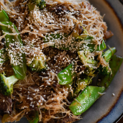 Sesame Venison with Rice Noodles