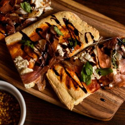 Prosciutto And Burrata pizza With Balsamic Glaze